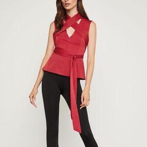 BCBGMAXAZRIA Red Satin Tie Top in Venetian Red